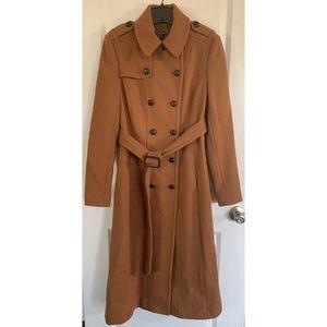 EXPRESS wool cognac long trench coat